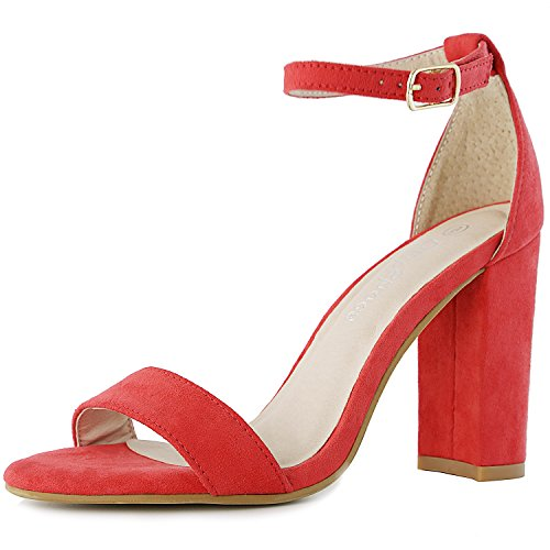 DailyShoes Women's Women's Chunky Heel Sandal Open Toe Wedding Pumps With Buckle Ankle Strap Party Evening Shoes, Red Suede, 10 B(M) Womens Evening Shoes Ankle Strap