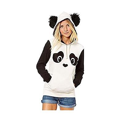 Meilaier Women's Cute Panda Print White and Black Fleece Hoodie Tops
