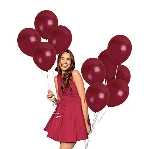Metallic Maroon Wine Burgundy Balloons 36 Pack 12 Inch Latex Wedding Engagement Bridal Baby Shower Decorations Bachelorette Graduation Party Supplies