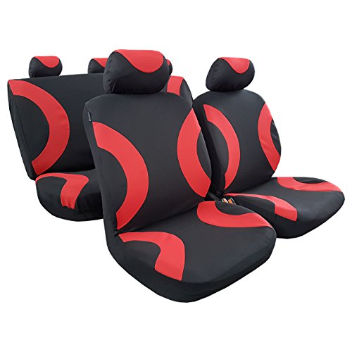 Mid Hatch Design - New Arrival Sports Design 4 Color Options Poly Airbag Seat Cover Full Set For Small Mid Size Car Truck SUV Toyota Nissan Mazda Ford (red/black)