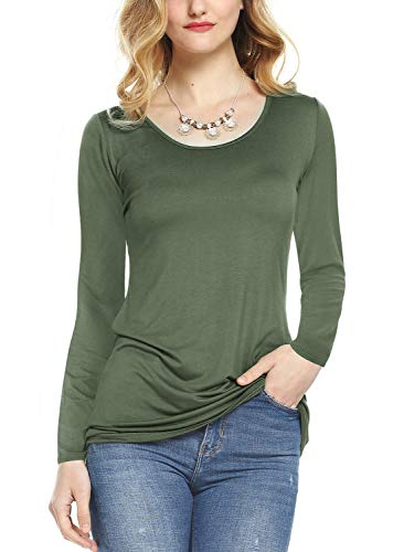 Amoretu Plus Size T Shirts for Women Long Sleeve Scoop Neck Cotton Tops Army Green XL -