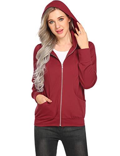 Zeagoo Women's Zip up Hoodie Jacket Thin Cotton Full Zip Hoodie - Double Zip Cardigan