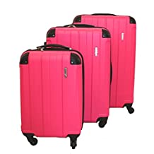 ICE CANADA 3-Piece Luggage Set made from ABS - Large, Medium and Carry On Suitcase with Wheels, Lock, and Telescopic Handle Luggage Spinner Hardside Lightweight Hard Side ABS (Fuschia)