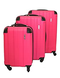Archibolt CANADA 3-Piece Luggage Set made from ABS - Large, Medium and Carry On Suitcase with Wheels, Lock, and Telescopic Handle Luggage Spinner Hardside Lightweight Hard Side ABS (Fuschia)