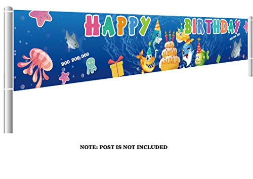 Colormoon Large Cute Shark Birthday Banner, Shark Birthday Banner for Kids Birthday Party Supplies Decorations, Cute Shark Baby Shower Supplies (9.8 x 1.5 feet)