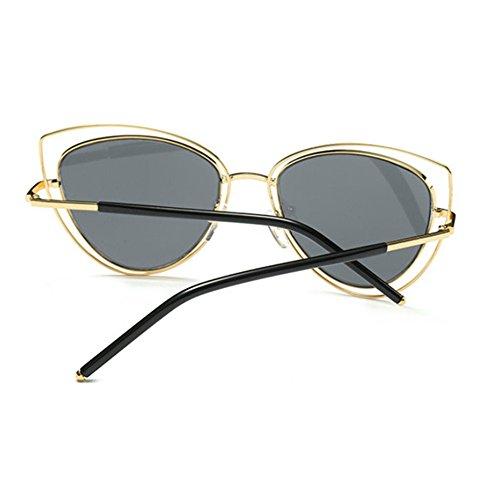Aoligei Lunettes de soleil chat yeux Lunettes de soleil métal shing masculin tendance européenne cGYMg