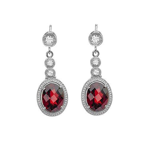 - 10k White Gold Diamond and Garnet Earrings