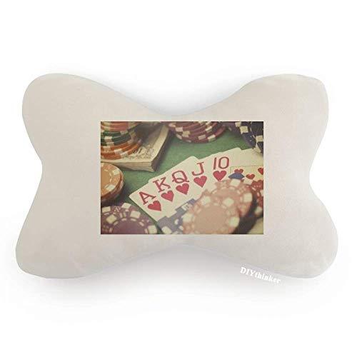 Hearts Flush Poker Gambling Photo Car Neck Pillow Headrest Support Cushion Pad by DIYthinker