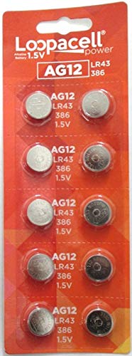 (LOOPACELL AG12 LR43 386 SR43 1.5V Alkaline Button Cell Watch Batteries 10 Pack)