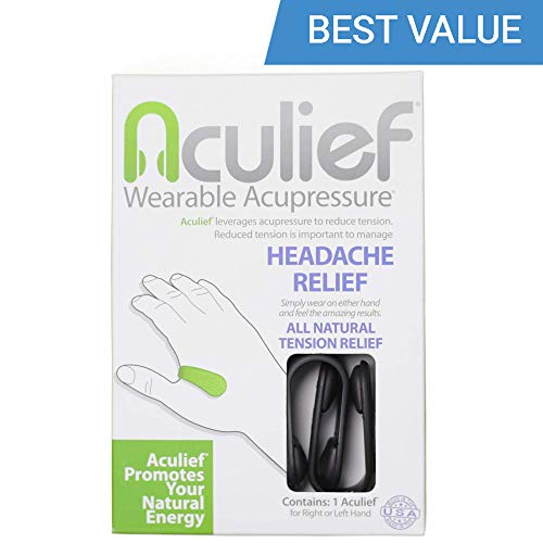 Aculief- Award Winning Natural Headache and Tension Relief - Wearable Acupressure 2 Pack- (Black) (Best Pain Reliever For Tension Headache)