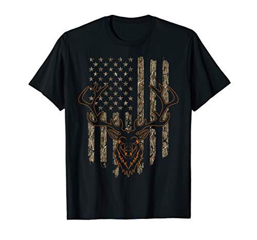 Deer Hunter Gift American Flag Hunting Tree Camouflage Shirt ()