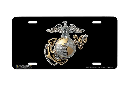 Airstrike USMC License Plate Marines License Plate-Marine Corps Emblem on Black Made in USA Metal License Plate-669 - Marines License Plate