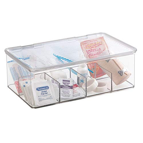 mDesign Plastic First Aid Kit Storage Box for Bathroom, Kitchen, Cabinet, Closet, Drawer - Organizes Medicine, Ointments, Adhesive Bandages, Dental, Diabetic Supplies, 8 Divided Sections - Clear
