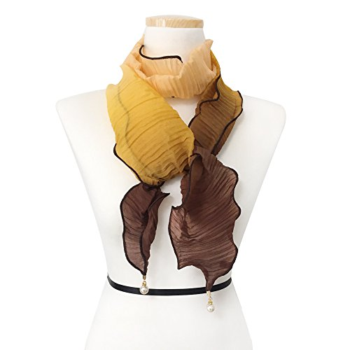 Womens Fashion Pearl Tassel Shawl Super Lightweight Soft Elegant Pattern ScarfTriangle for womens Wraps Scarves, (Burnt Brown Pearls)