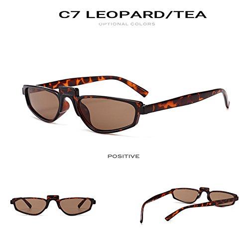 oras T¨¦ Mujer de luneta Se Sombras Tendencia Sun Barato Leopardo AT9801 Nueva Marca Las Mujeres C7 Oculos Gafas vidrios Gris o Peque de Cuadrado Zygeo C2 de Sol Blanco los de wWXqfHRORB