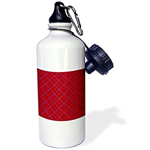 3dRose wb_31344_1 Red Scotch Plaid Tartan Red Maroon and Carrot Colors Sports Water Bottle, 21 oz, White