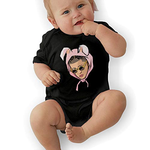 Eowlte Bad Bunny Baby Girls Boys Short Sleeve Baby Onesie Black 0-3M]()