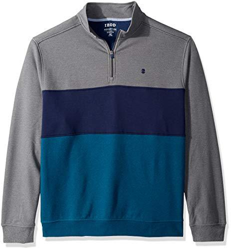 (IZOD Men's Big and Tall Advantage Performance Colorblock Quarter Zip Fleece Pullover, Block Legion Blue, 2X-Large)