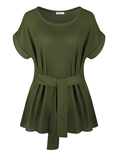 Business Casual Chiffon,Shirts for Women Summer Cozy Boat Neck Cuffed Sleeve Basic Solid Chiffon Lounging Blouse for Leggings with Belted at Waist Army Green ()