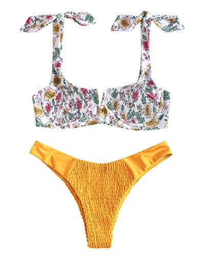 Shirred Knot - ZAFUL Womens Floral Smocked Tie Shoulder V Wired Bikini Set with Underwire Two Piece Shirred Swimsuit Bathing Suits (Yellow-Floral, M)