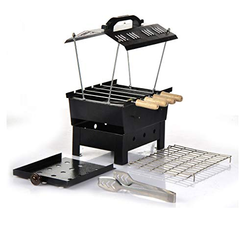 Wellberg Barbeque Grill, Barbeque with 4 Skewers Charcoal Grill Compact BBQ Black Iron Barbecue
