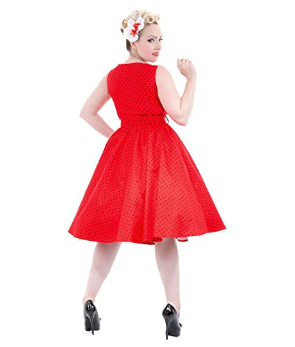 9058 H&R London 50s Pois Robe Rouge