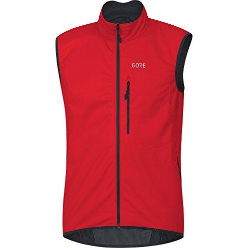 GORE Wear Men's Windproof Cycling Vest, GORE Wear C3 GORE Wear WINDSTOPPER Vest, Size: S, Color: Red, 100037
