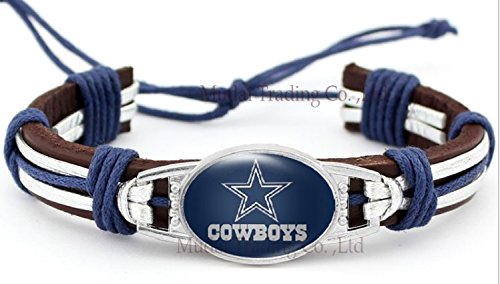 Dallas Cowboys Adjustable Leather Wristband Jewelry Bracelet - Shipped from U.S.A. by Collectibles