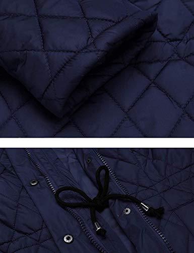 Mode Trench Fermeture clair Fit Hiver A Branch Femme avec Doudoune Poches Veste Couleur Slim Unie blau Manches Longues breal Latrales Capuche Outerwear Navy wEvqTzq