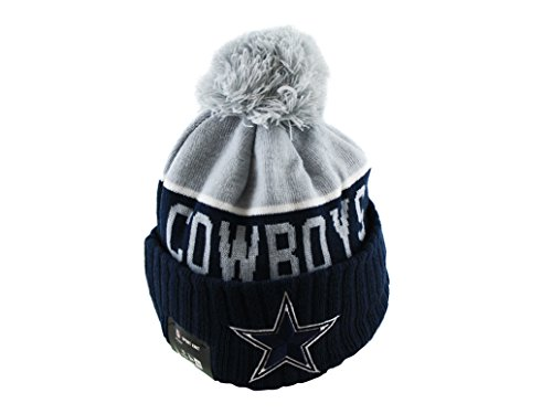 Skull Cowboy Hat (New Era Knit Dallas Cowboys Blue On Field Sideline Winter Stocking Beanie Pom Hat)