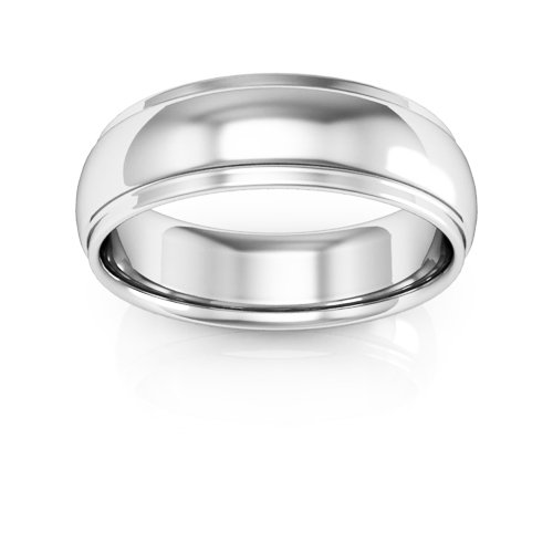 14K White Gold men's and women's plain wedding bands 6mm half round edge comfort fit, 10.25