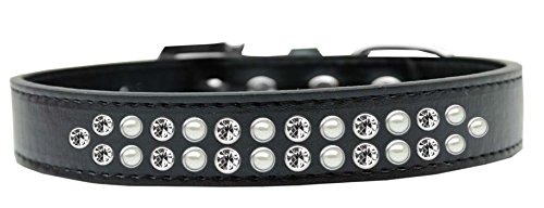 Mirage Pet Products Two Row Pearl and Clear Crystal Black Dog Collar, Size 20 by Mirage Pet Products