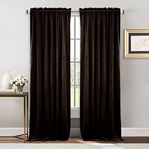 (NICETOWN Thermal Insulated Velvet Blackout Curtains - Sound Reducing Heavy Matt Solid Drapes/Panels for Holiday (2 Panel Per Pack, 84 inch Long, Dark Brown))