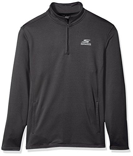 Skechers Men's Go Walk Momentum 1/4 Zip Mock Neck Twill Back Fleece Jacket, Gray, M