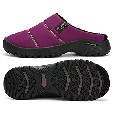 UBFEN Men's Women's Winter Warm Slippers with Fuzzy Plush Lining Slip on House Shoes with Indoor Outdoor Anti-Skid Rubber Sole | Slippers
