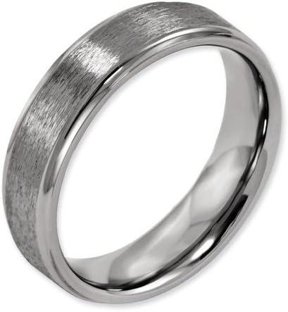 Bridal Titanium Ridged Edge 6mm Satin and Polished Band