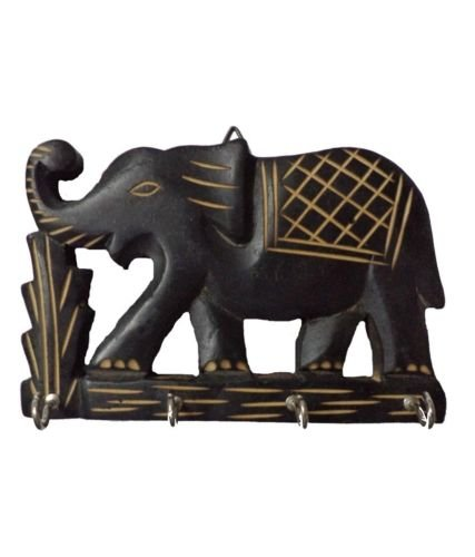 Elephant Wooden Hand Carved Wall Hanging Key Holder with 4 Hooks Home Kitchen Decor, Gift for Christmas or Birthday to Your Loved Ones W-40004 (Elephant Hand)