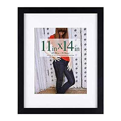 RPJC 11x14 Picture Frames Made of Solid Wood and High Definition Glass Display Pictures 8x10 with Mat or 11x14 Without Mat for Wall Mounting Photo Frame Black