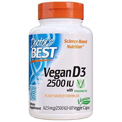Doctor's Best Vitamin D3 2500IU with Vitashine D3, Non-GMO, Vegan, Gluten & Soy Free, Regulates Immune Function…