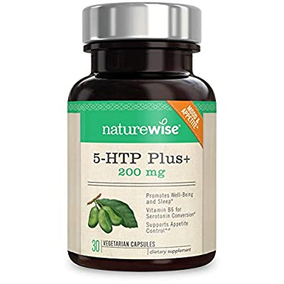 NatureWise 5-HTP Max Potency 200mg   Mood Support, Natural Sleep Aid & Helps Curb Appetite   Delayed Release Capsules Easier on The Stomach   Enhanced with Vitamin B6   Non-GMO, Vegetarian