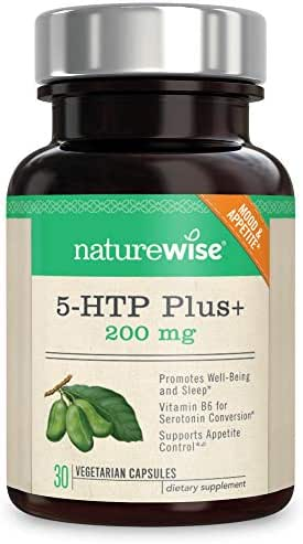 NatureWise 5-HTP Max Potency 200mg | Mood Support, Natural Sleep Aid & Helps Curb Appetite | Delayed Release Capsules Easy on The Stomach | Enhanced w/Vitamin B6 | Non-GMO [1 Month Supply - 30 Count]