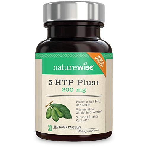 NatureWise 5-HTP Max Potency 200mg | Mood Support, Natural Sleep Aid & Helps Curb Appetite | Delayed Release Capsules Easy on The Stomach | Enhanced w/Vitamin B6 | Non-GMO [1 Month Supply - 30 Count] (Foods That Release Dopamine In The Brain)