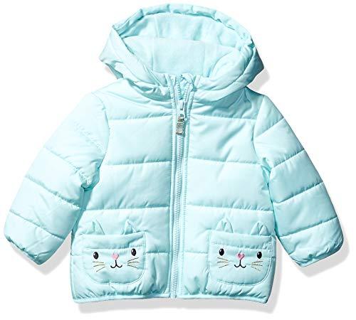 Carter's Baby Girls Fleece Lined Critter Puffer Jacket Coat, Seaside Kitten, 12 Months