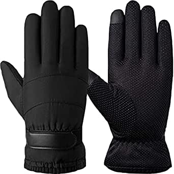T WILKER Winter Thinsulate Insulated Windproof Ski Gloves for Men&Women Touchscreen Cold Weather Gloves with Wrist Velcro(Black)
