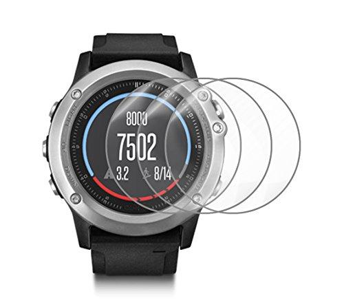 Protector de Pantalla para Garmin Fenix 3/3 HR Smart Watch, IHUIXINHE (3 Paquete)Película de Vidrio Templado Anti-rasguños Alta Definición Escudo(No ...