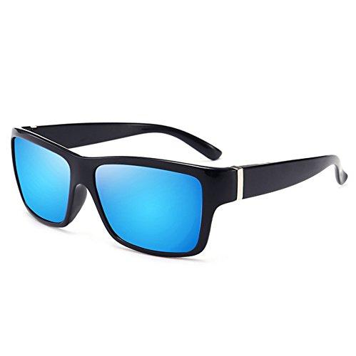 Worclub Bleu épais de Brillant soleil cadre de Noir de carrées polarisé UV400 Classique conduite protection lunettes rétro lunettes zqrSzw