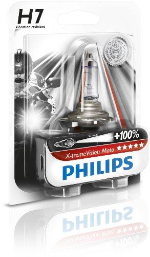 Philips 12972XVBW X-treme Vision Moto H7 Motorrad-Scheinwerferlampe, 1-er Blister