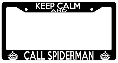 LOGO Chrome METAL License Plate Frame KEEP CALM AND CALL SPIDERMAN