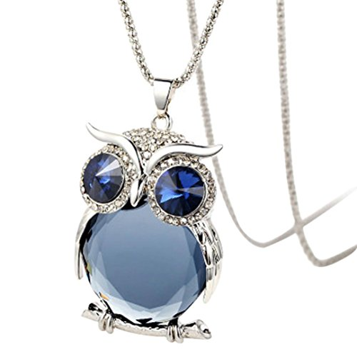 - ManxiVoo Clearance Rhinestone Owl Pendant Necklace Women Vintage Glass Cabochon Necklace Long Chain Jewelry (C)
