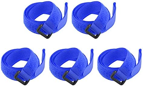 uxcell フックとループのストラップ20mm x 700mmストラップ固定 再利用可能な固定ケーブルタイ (ブルー)5個